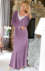 women cuddles gown