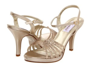 Gold Prom Shoe Dyeables Leah adorned with glittering accent on the vamp