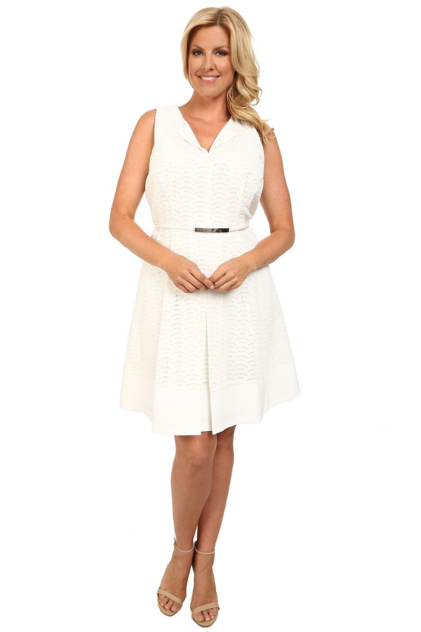 sweet spring dress in white- Calvin Klein Plus- Plus Size Scalope Eyelet Dress