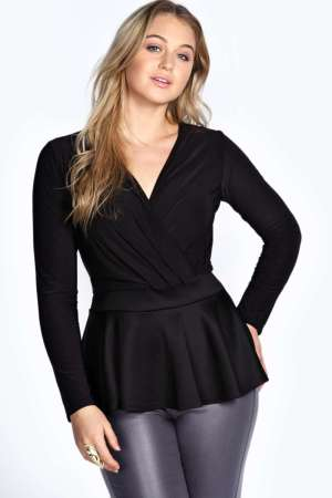 Curves Hugging Black Wrap Poplin Top