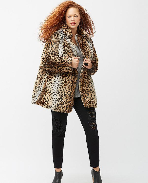 Animal print faux fur coat for winter