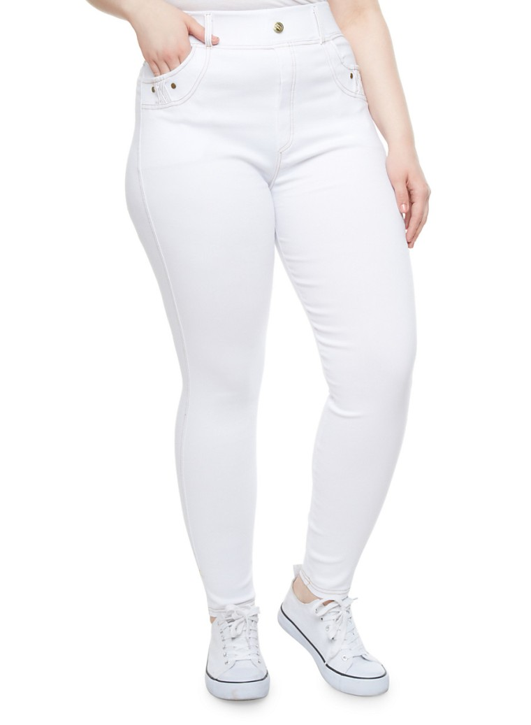 womens plus sizes Jeggings With Criss-Cross Accent Pockets