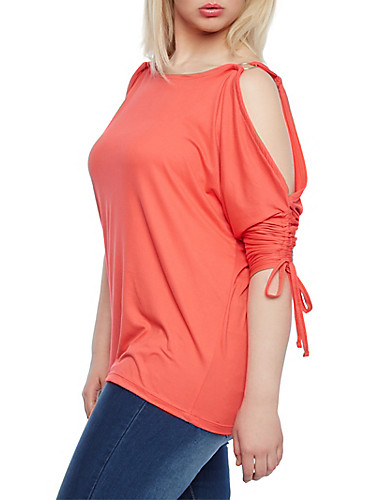 womens plus sizes cold shoulder top with tie accent sleeves