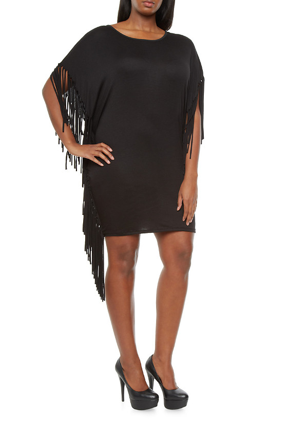 Womens plus size fringed shift dress