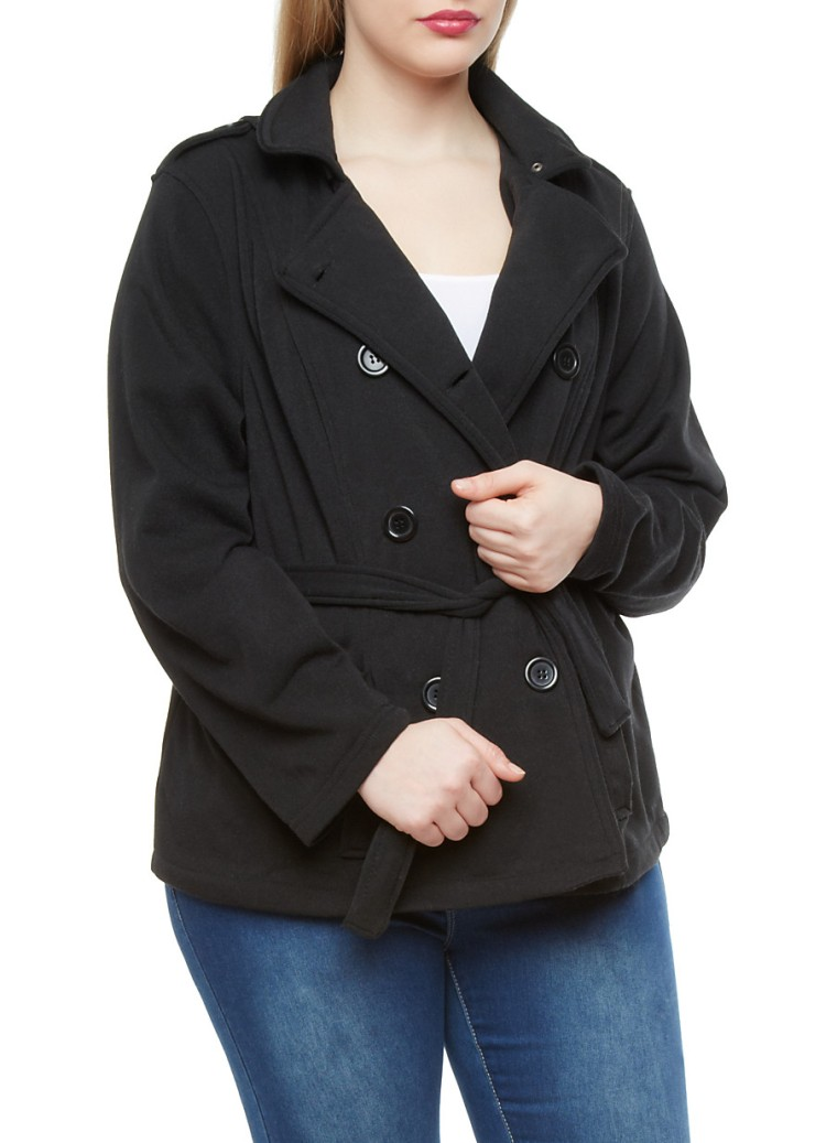 plus size belted pea coat
