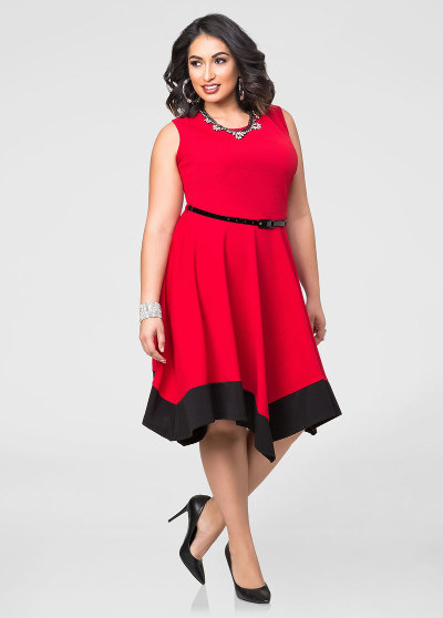 Women's plus sizes red handkerchief hem dress