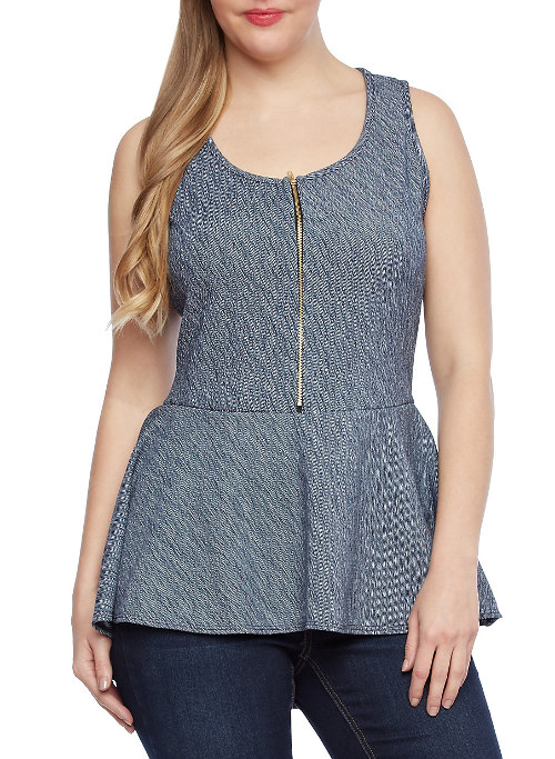 Womens plus size Tailored denim print peplum top
