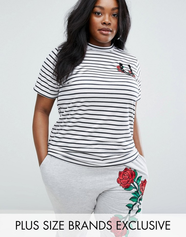 Daisy Street Plus Striped Tee With Embroidery