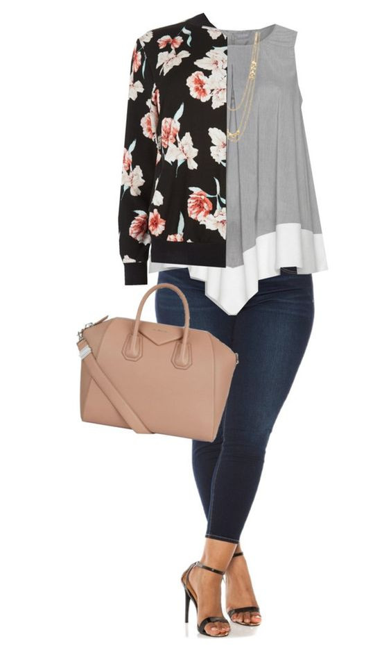 Curvy outfit with floral bomber jacket